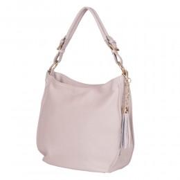Edina, női természetes bőr táska, krémszínű