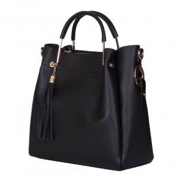 Fabiana, női természetes bőr táska, fekete