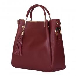 Fabiana, női természetes bőr táska, sötétpiros