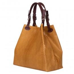 Natalie női, természetes bőr táska, mustár sárga