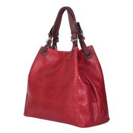Natalie női, természetes bőr táska, piros