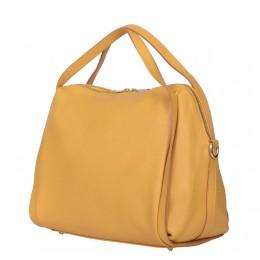 Evelyn, női természetes bőr táska, sárga