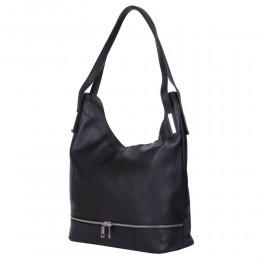 Lucy, természetes bőr táska, fekete