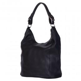 Silvia női, természetes bőr táska, fekete