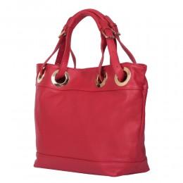 Stella női, természetes bőr táska, piros