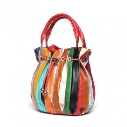 Linda női, természetes bőr táska, piros pánttal