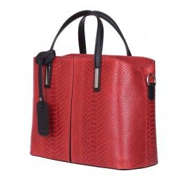 Ella, természetes bőr táska, piros