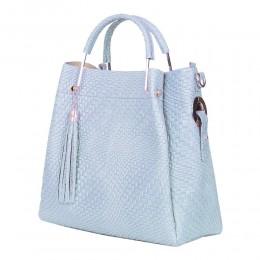 Olivia női, természetes bőr táska, világoskék