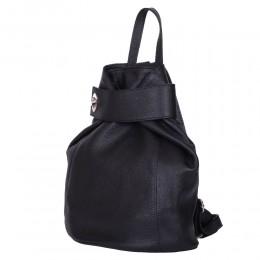 Emily, természetes bőrből készült hátizsák, fekete